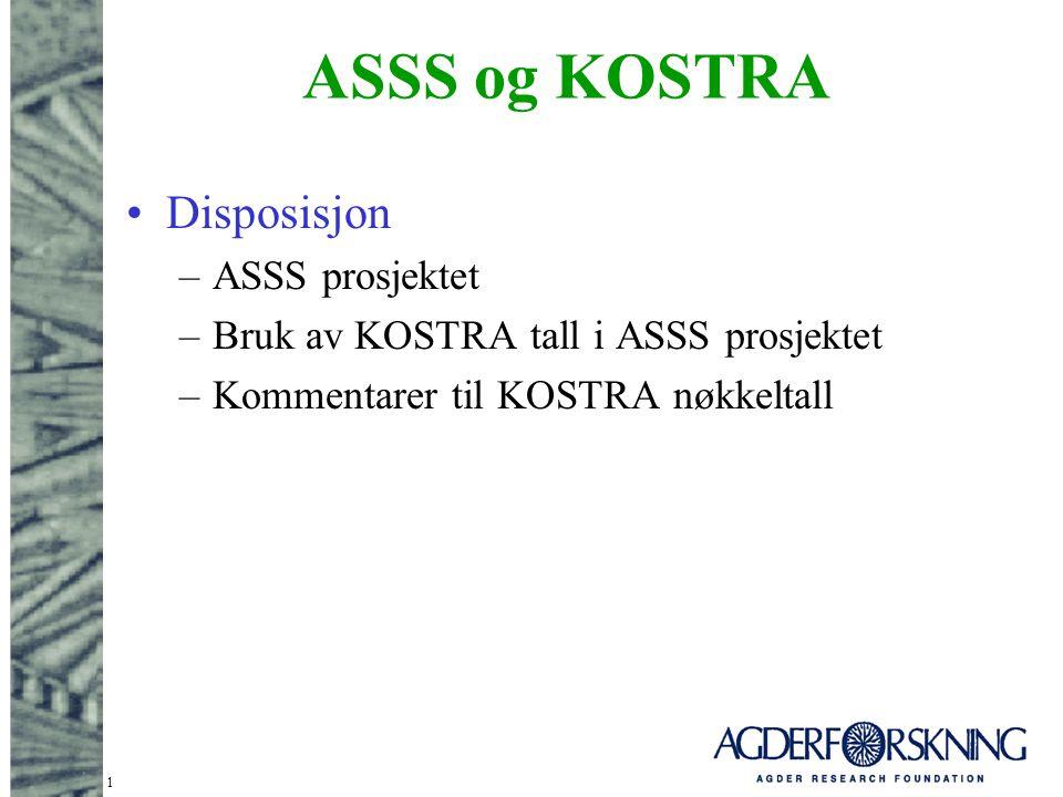 1 ASSS og KOSTRA Disposisjon –ASSS prosjektet –Bruk av KOSTRA tall i ASSS prosjektet –Kommentarer til KOSTRA nøkkeltall