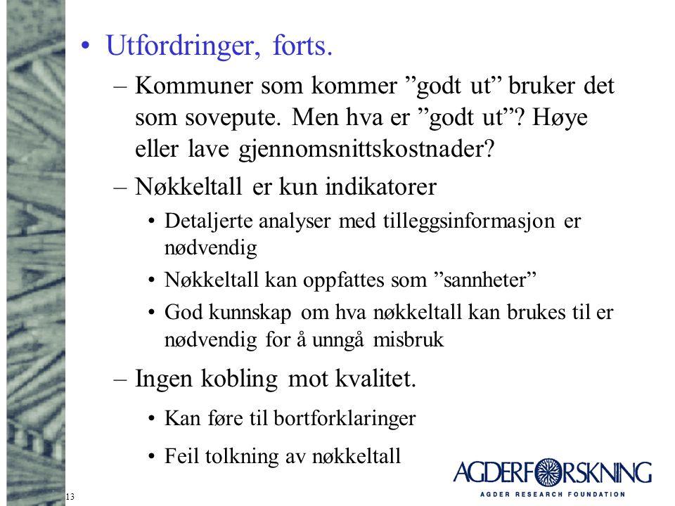 """13 Utfordringer, forts. –Kommuner som kommer """"godt ut"""" bruker det som sovepute. Men hva er """"godt ut""""? Høye eller lave gjennomsnittskostnader? –Nøkkelt"""