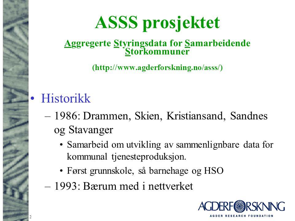 2 ASSS prosjektet Aggregerte Styringsdata for Samarbeidende Storkommuner (http://www.agderforskning.no/asss/) Historikk –1986: Drammen, Skien, Kristia
