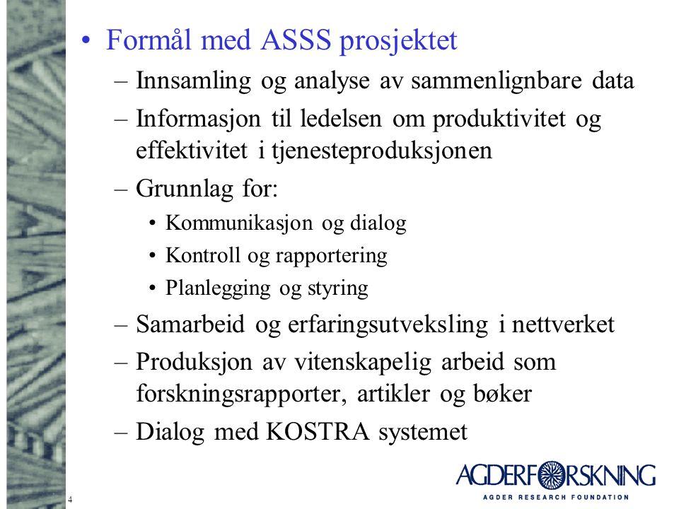 4 Formål med ASSS prosjektet –Innsamling og analyse av sammenlignbare data –Informasjon til ledelsen om produktivitet og effektivitet i tjenesteproduk