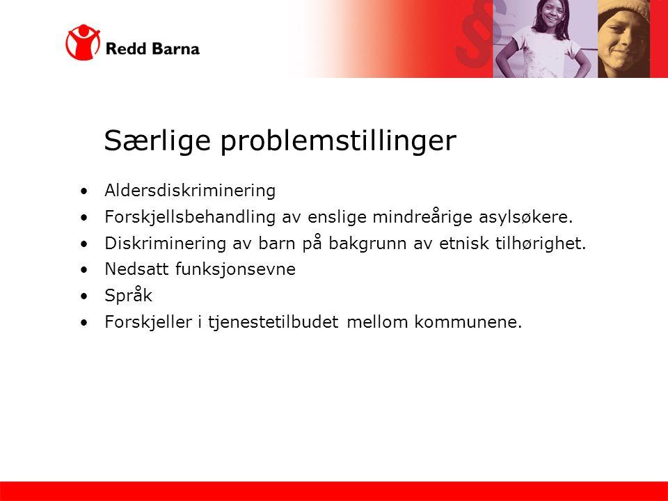Særlige problemstillinger Aldersdiskriminering Forskjellsbehandling av enslige mindreårige asylsøkere. Diskriminering av barn på bakgrunn av etnisk ti