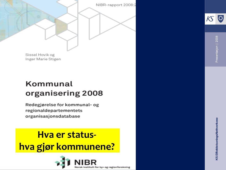 KS EffektiviseringsNettverkene Presentasjon | 2008 Hva er status- hva gjør kommunene?