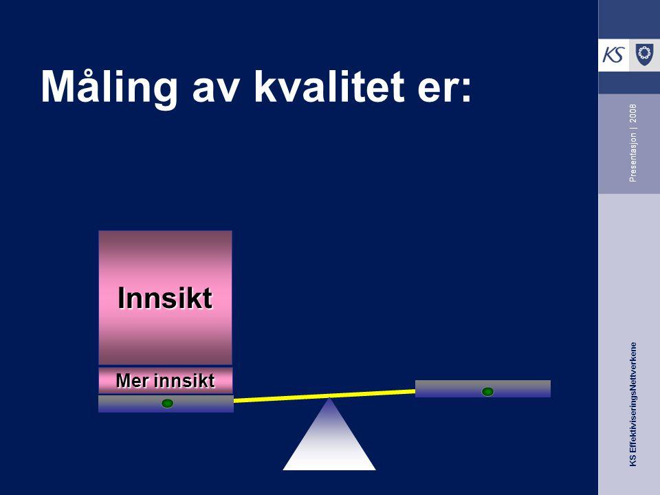 KS EffektiviseringsNettverkene Presentasjon | 2008 Måling av kvalitet er: Mer innsikt Innsikt