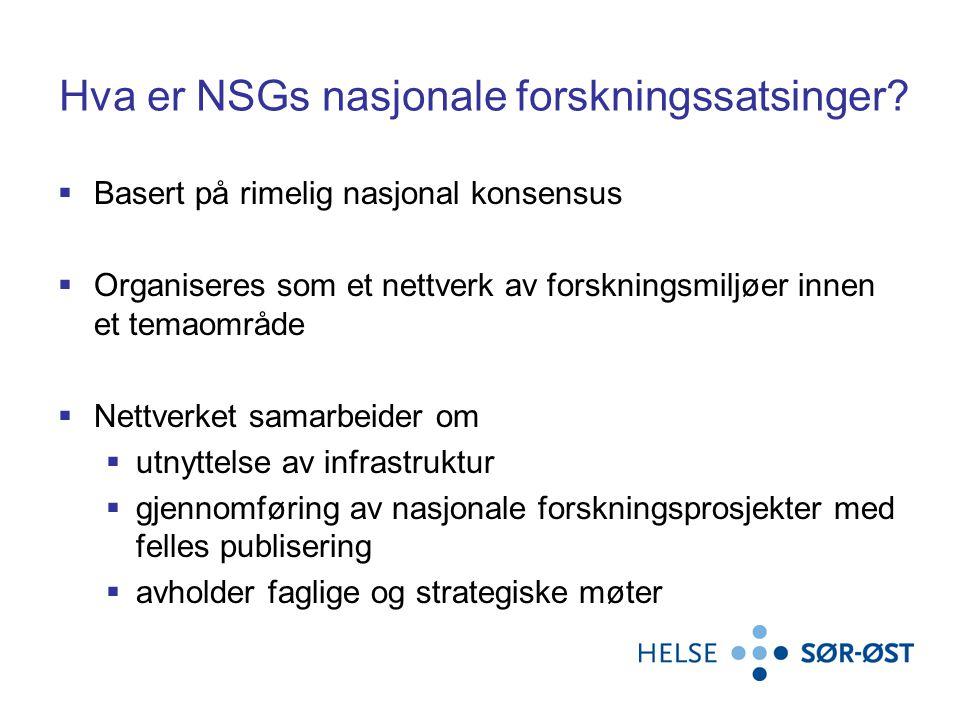 Hva er NSGs nasjonale forskningssatsinger.