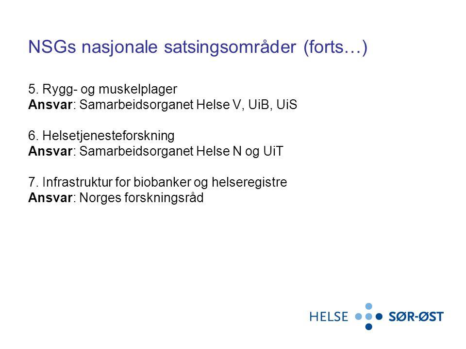 NSGs nasjonale satsingsområder (forts…) 5.