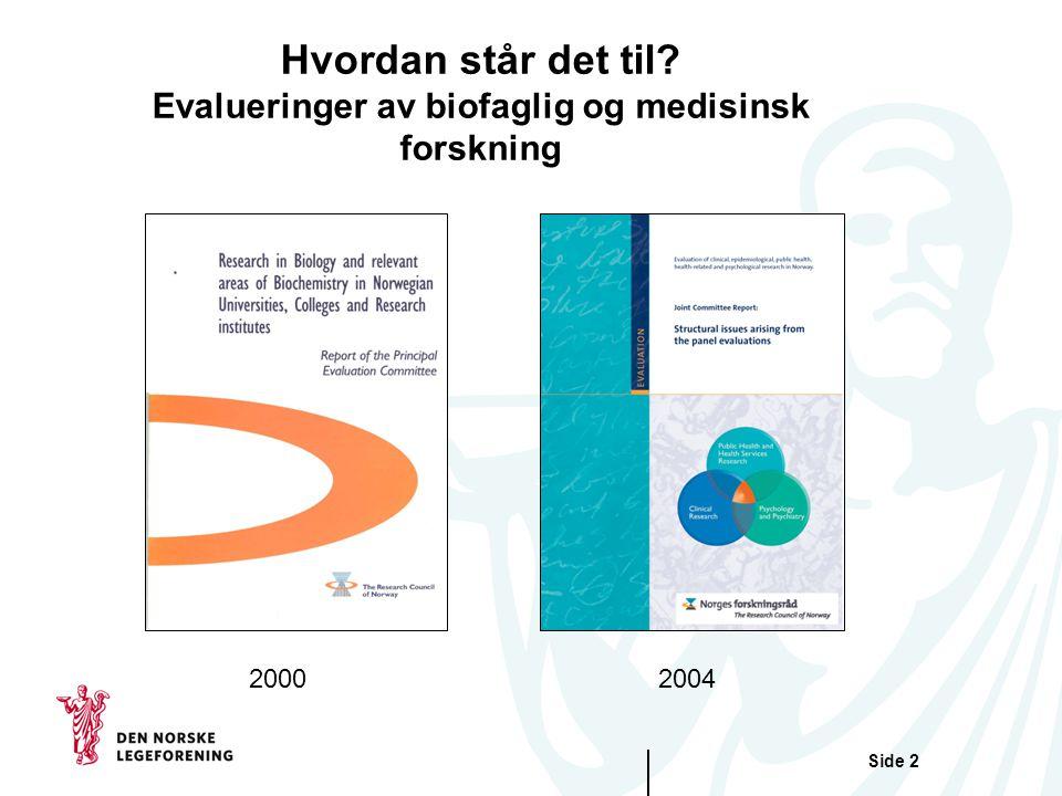 Side 2 Hvordan står det til? Evalueringer av biofaglig og medisinsk forskning 20002004