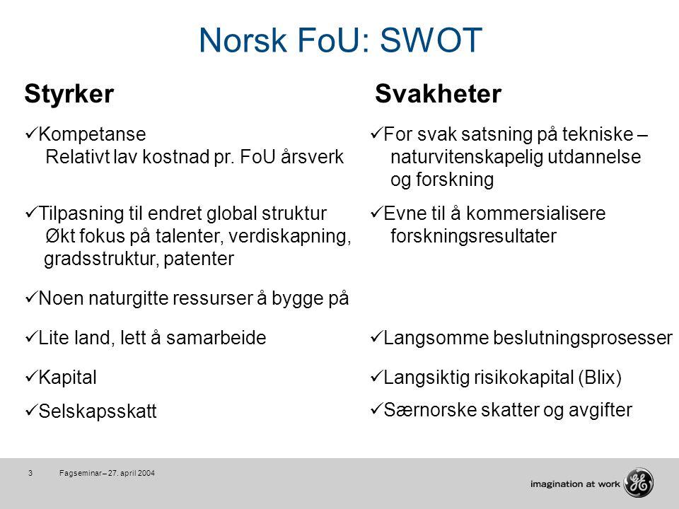 Fagseminar – 27. april 20043 Norsk FoU: SWOT Styrker Kompetanse Relativt lav kostnad pr.