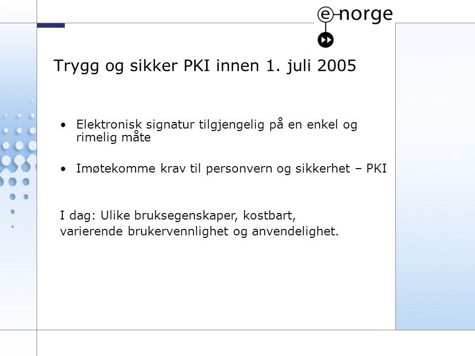 8 Trygg og sikker PKI innen 1. juli 2005 Elektronisk signatur tilgjengelig på en enkel og rimelig måte Imøtekomme krav til personvern og sikkerhet – P
