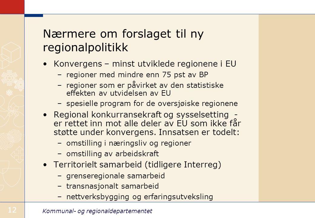 Kommunal- og regionaldepartementet 12 Nærmere om forslaget til ny regionalpolitikk Konvergens – minst utviklede regionene i EU –regioner med mindre en