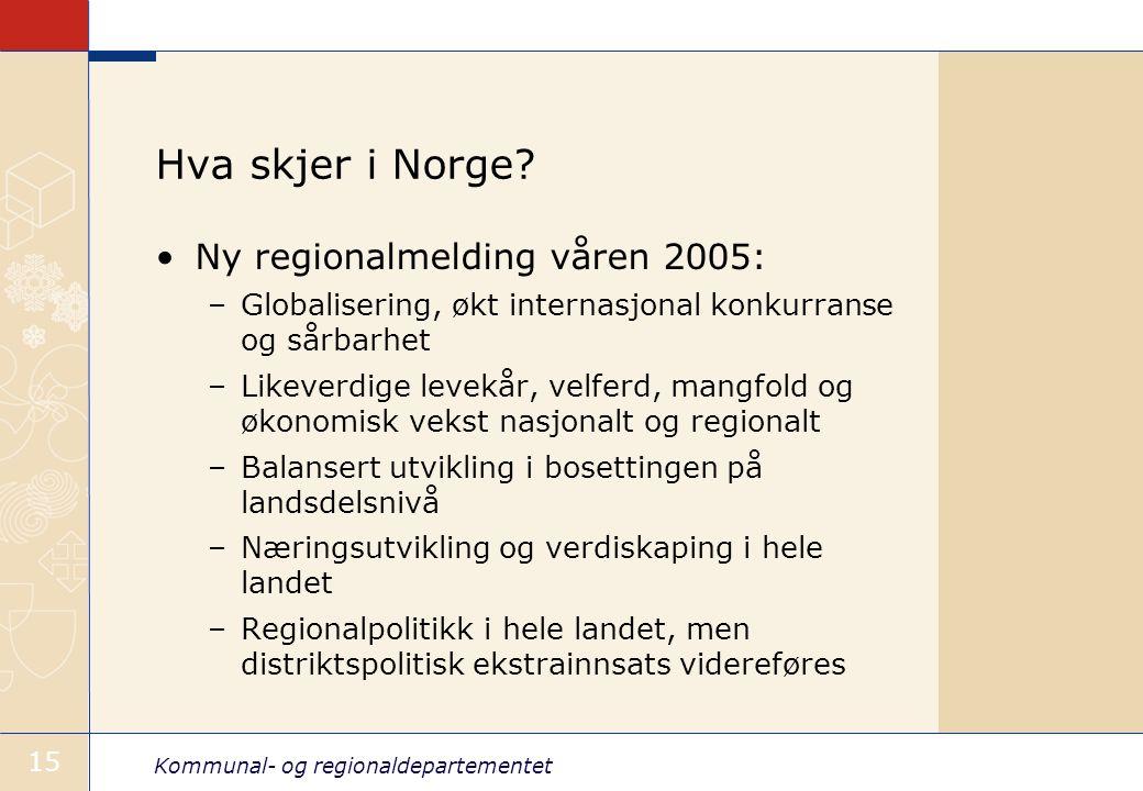 Kommunal- og regionaldepartementet 15 Hva skjer i Norge? Ny regionalmelding våren 2005: –Globalisering, økt internasjonal konkurranse og sårbarhet –Li
