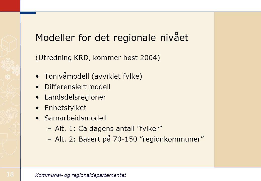 Kommunal- og regionaldepartementet 18 Modeller for det regionale nivået (Utredning KRD, kommer høst 2004) Tonivåmodell (avviklet fylke) Differensiert