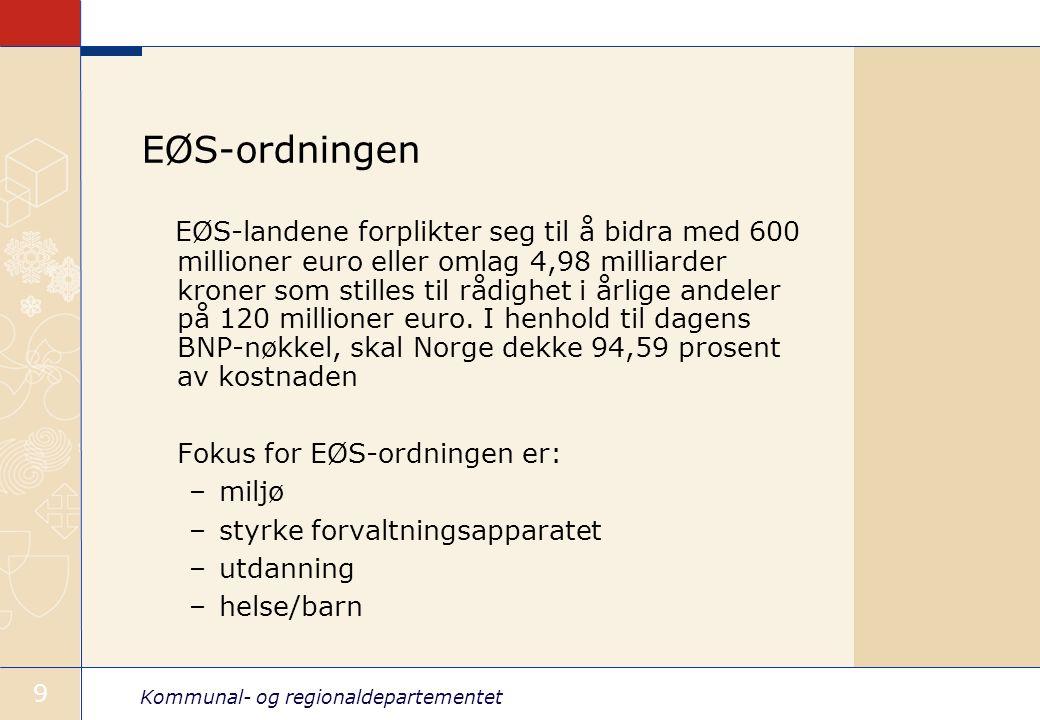 Kommunal- og regionaldepartementet 9 EØS-ordningen EØS-landene forplikter seg til å bidra med 600 millioner euro eller omlag 4,98 milliarder kroner so