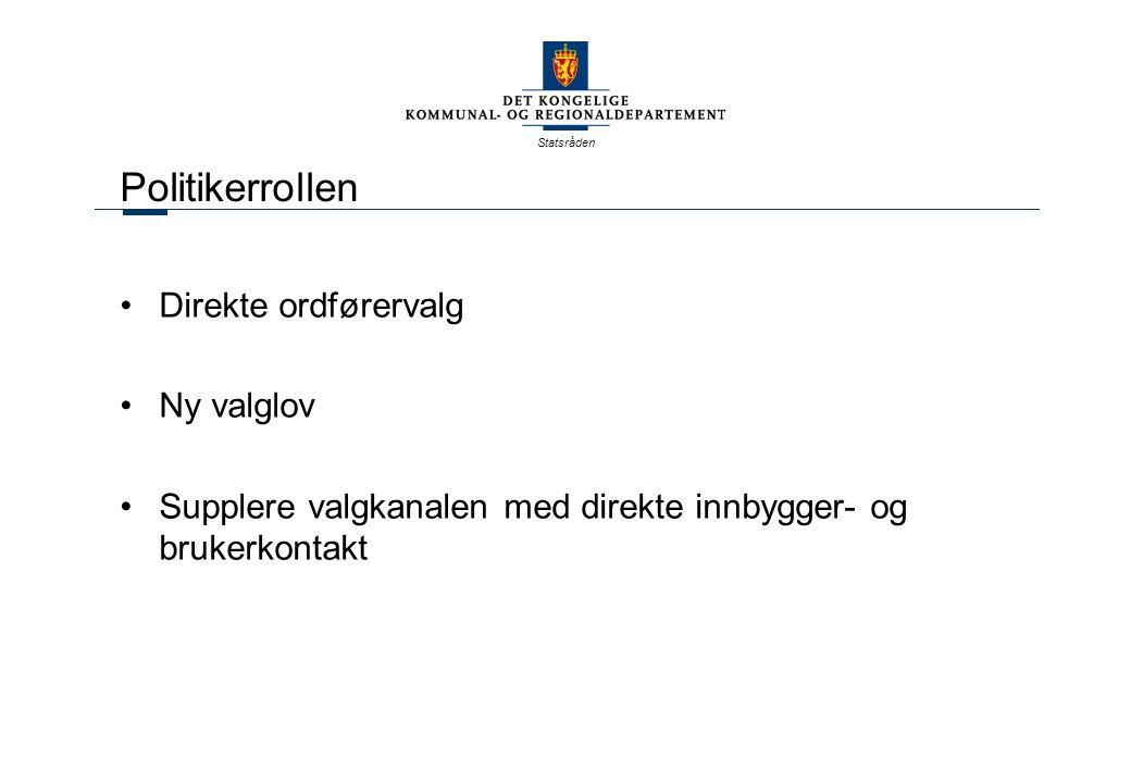 Statsråden Politikerrollen Direkte ordførervalg Ny valglov Supplere valgkanalen med direkte innbygger- og brukerkontakt