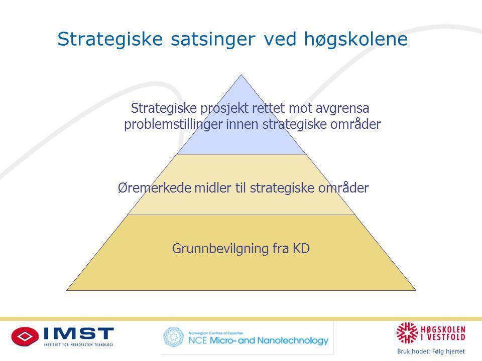 Strategiske satsinger ved høgskolene Grunnbevilgning fra KD Øremerkede midler til strategiske områder Strategiske prosjekt rettet mot avgrensa problemstillinger innen strategiske områder