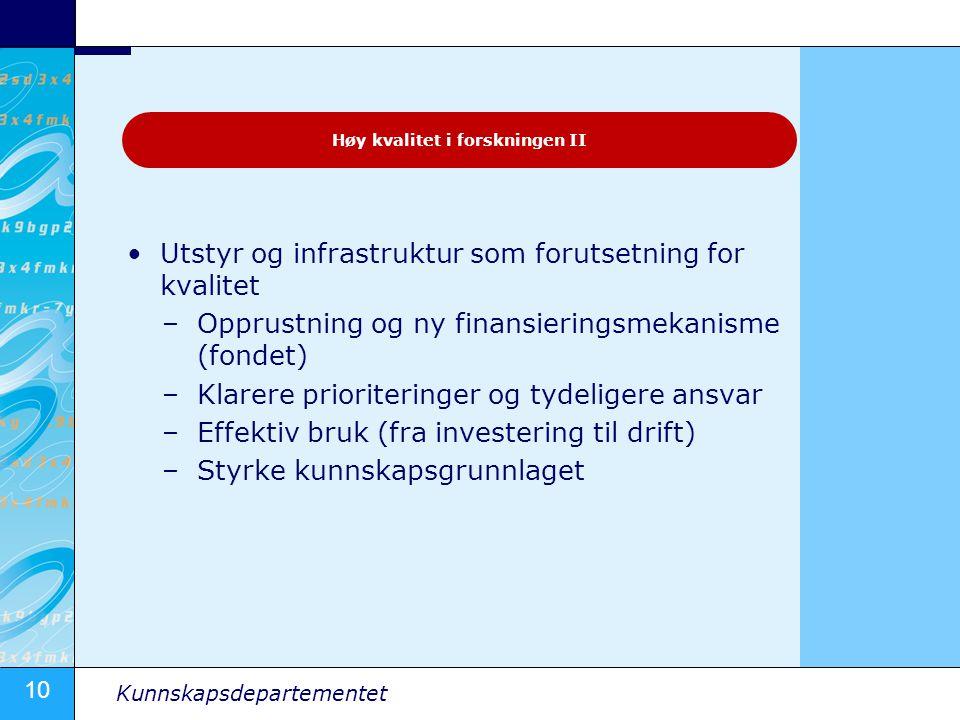 10 Kunnskapsdepartementet Utstyr og infrastruktur som forutsetning for kvalitet –Opprustning og ny finansieringsmekanisme (fondet) –Klarere prioriteri