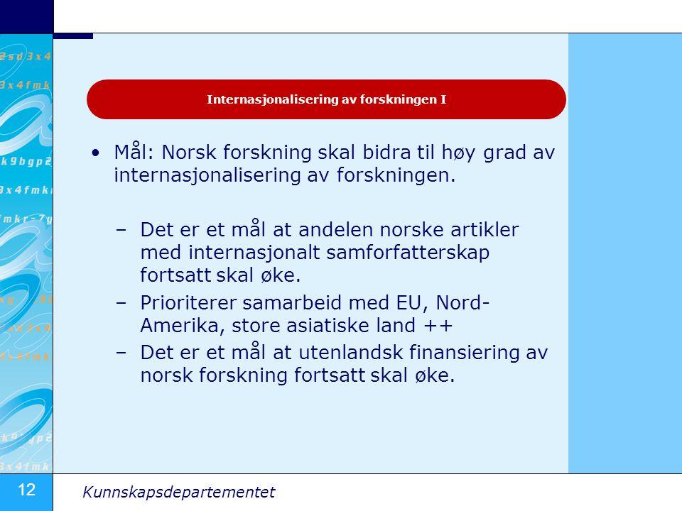 12 Kunnskapsdepartementet Mål: Norsk forskning skal bidra til høy grad av internasjonalisering av forskningen. –Det er et mål at andelen norske artikl