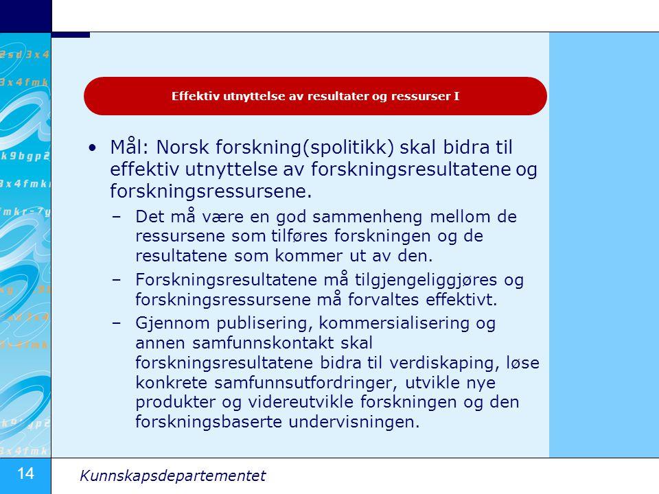14 Kunnskapsdepartementet Mål: Norsk forskning(spolitikk) skal bidra til effektiv utnyttelse av forskningsresultatene og forskningsressursene. –Det må