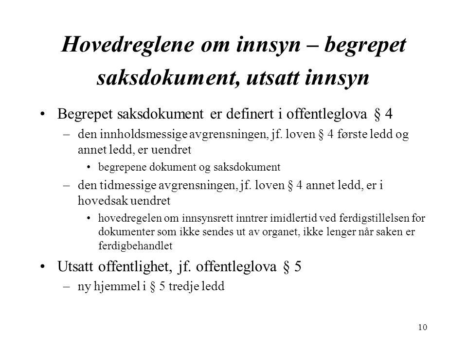 10 Hovedreglene om innsyn – begrepet saksdokument, utsatt innsyn Begrepet saksdokument er definert i offentleglova § 4 –den innholdsmessige avgrensnin