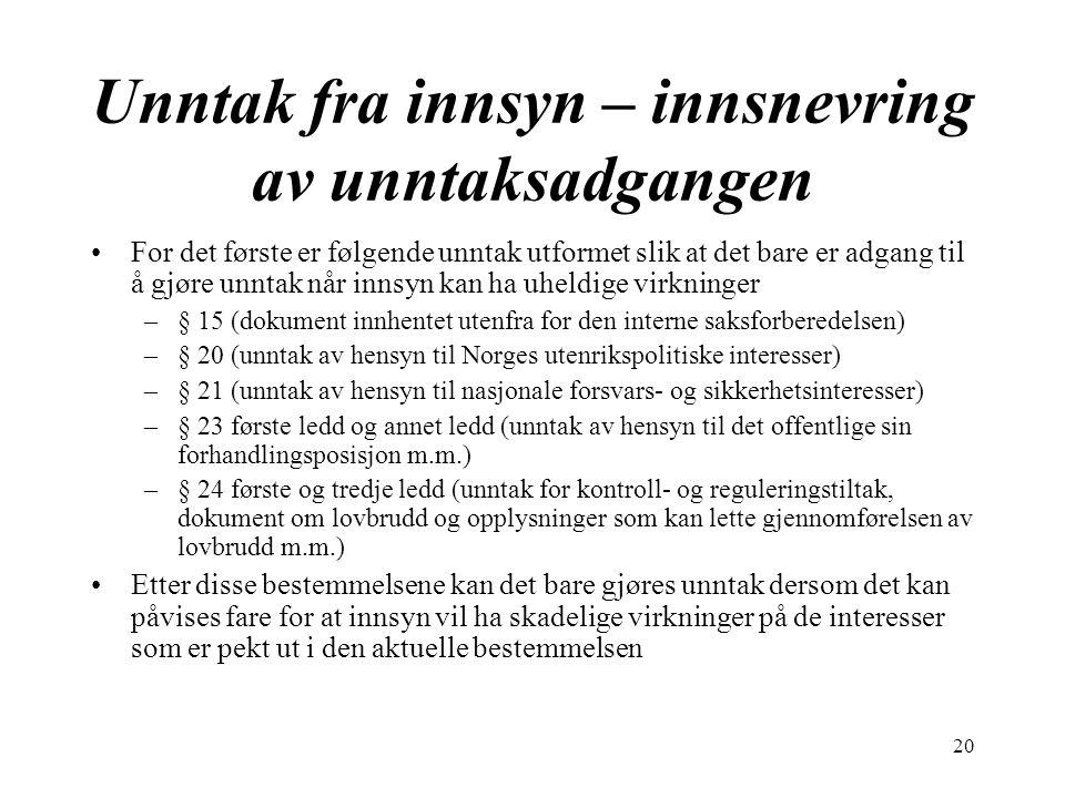 20 Unntak fra innsyn – innsnevring av unntaksadgangen For det første er følgende unntak utformet slik at det bare er adgang til å gjøre unntak når innsyn kan ha uheldige virkninger –§ 15 (dokument innhentet utenfra for den interne saksforberedelsen) –§ 20 (unntak av hensyn til Norges utenrikspolitiske interesser) –§ 21 (unntak av hensyn til nasjonale forsvars- og sikkerhetsinteresser) –§ 23 første ledd og annet ledd (unntak av hensyn til det offentlige sin forhandlingsposisjon m.m.) –§ 24 første og tredje ledd (unntak for kontroll- og reguleringstiltak, dokument om lovbrudd og opplysninger som kan lette gjennomførelsen av lovbrudd m.m.) Etter disse bestemmelsene kan det bare gjøres unntak dersom det kan påvises fare for at innsyn vil ha skadelige virkninger på de interesser som er pekt ut i den aktuelle bestemmelsen