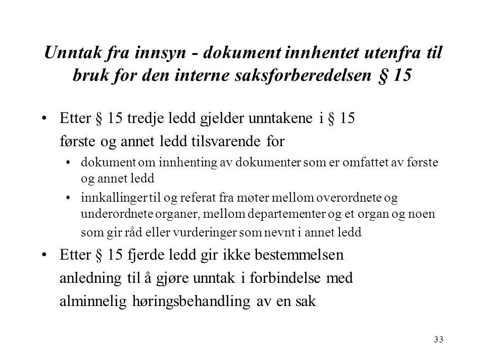 33 Unntak fra innsyn - dokument innhentet utenfra til bruk for den interne saksforberedelsen § 15 Etter § 15 tredje ledd gjelder unntakene i § 15 førs