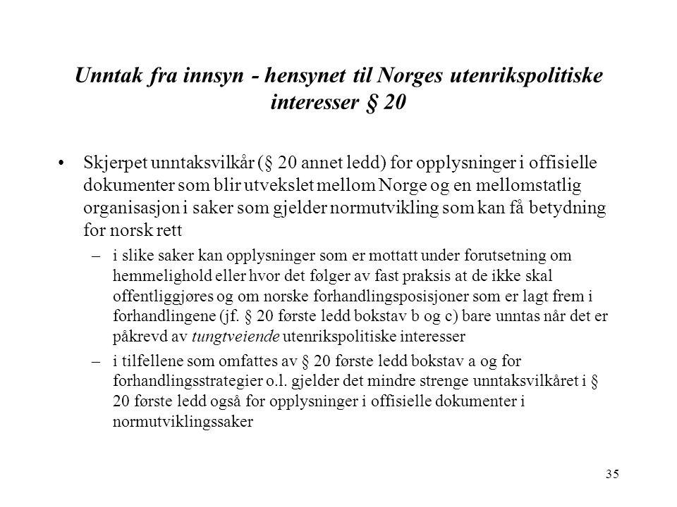 35 Unntak fra innsyn - hensynet til Norges utenrikspolitiske interesser § 20 Skjerpet unntaksvilkår (§ 20 annet ledd) for opplysninger i offisielle do