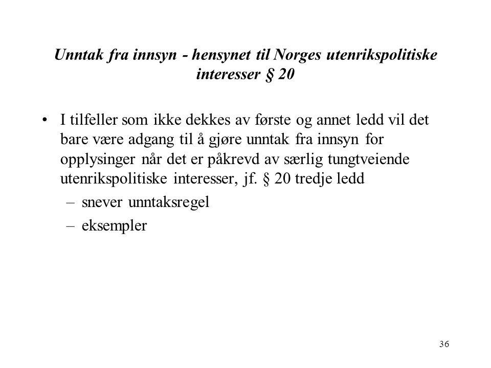 36 Unntak fra innsyn - hensynet til Norges utenrikspolitiske interesser § 20 I tilfeller som ikke dekkes av første og annet ledd vil det bare være adg