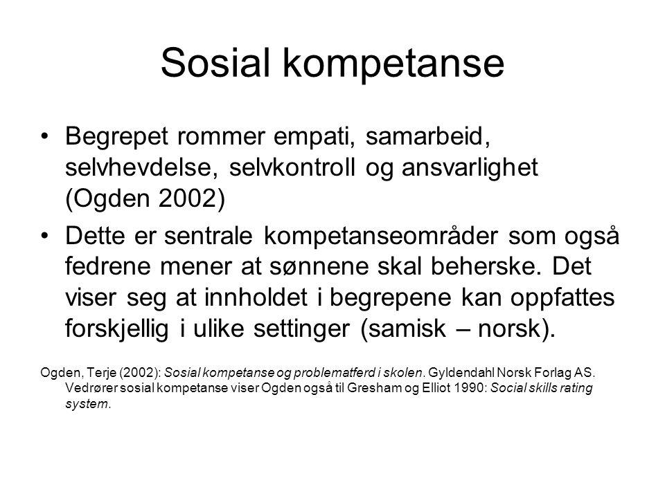 Sosial kompetanse Begrepet rommer empati, samarbeid, selvhevdelse, selvkontroll og ansvarlighet (Ogden 2002) Dette er sentrale kompetanseområder som o