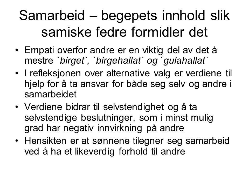 Samarbeid – begepets innhold slik samiske fedre formidler det Empati overfor andre er en viktig del av det å mestre `birget`, `birgehallat` og `gulaha