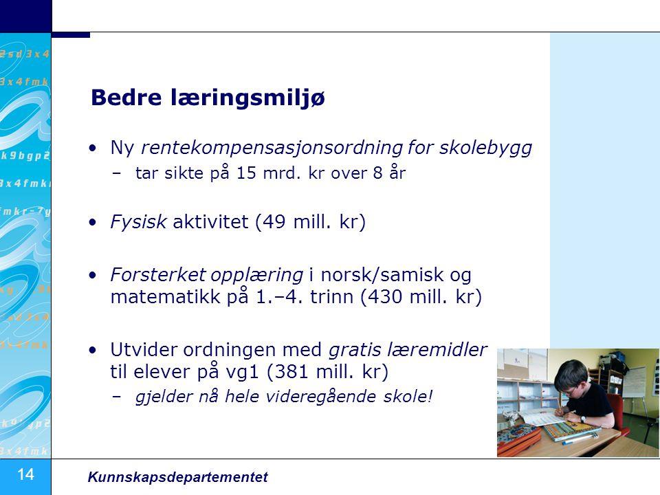 14 Kunnskapsdepartementet Bedre læringsmiljø Ny rentekompensasjonsordning for skolebygg –tar sikte på 15 mrd.