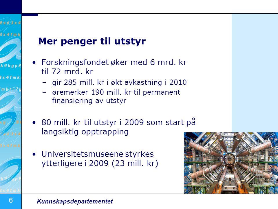 6 Kunnskapsdepartementet Mer penger til utstyr Forskningsfondet øker med 6 mrd.