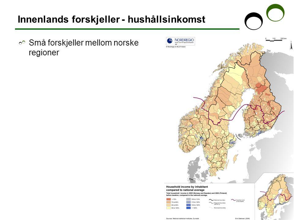 Innenlands forskjeller - hushållsinkomst Små forskjeller mellom norske regioner
