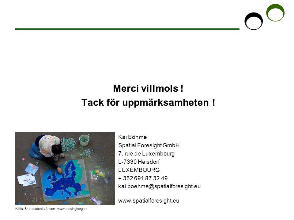 Källa: Skolstaden i världen - www.helsingborg.se Merci villmols ! Tack för uppmärksamheten ! Kai Böhme Spatial Foresight GmbH 7, rue de Luxembourg L-7