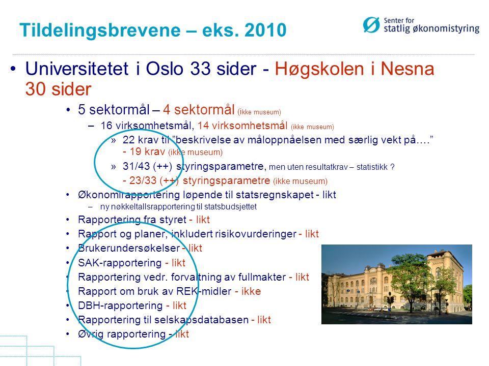Tildelingsbrevene – eks. 2010 Universitetet i Oslo 33 sider - Høgskolen i Nesna 30 sider 5 sektormål – 4 sektormål (i kke museum) –16 virksomhetsmål,