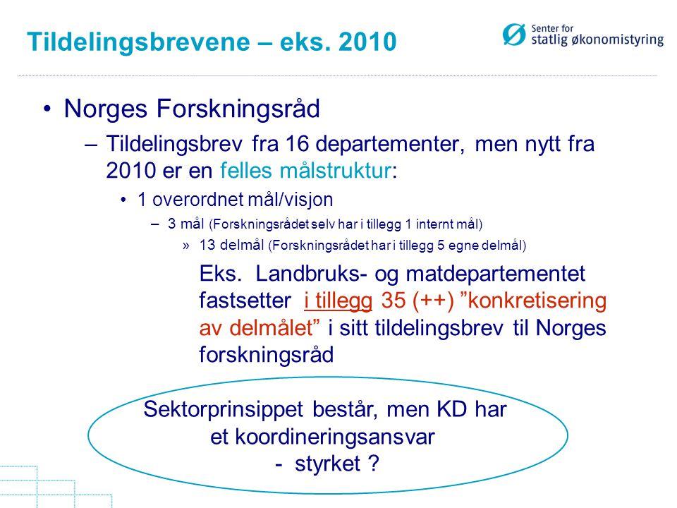 Tildelingsbrevene – eks. 2010 Norges Forskningsråd –Tildelingsbrev fra 16 departementer, men nytt fra 2010 er en felles målstruktur: 1 overordnet mål/