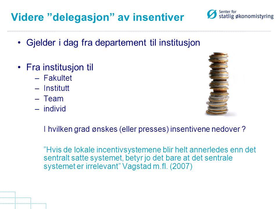 """Videre """"delegasjon"""" av insentiver Gjelder i dag fra departement til institusjon Fra institusjon til –Fakultet –Institutt –Team –individ I hvilken grad"""