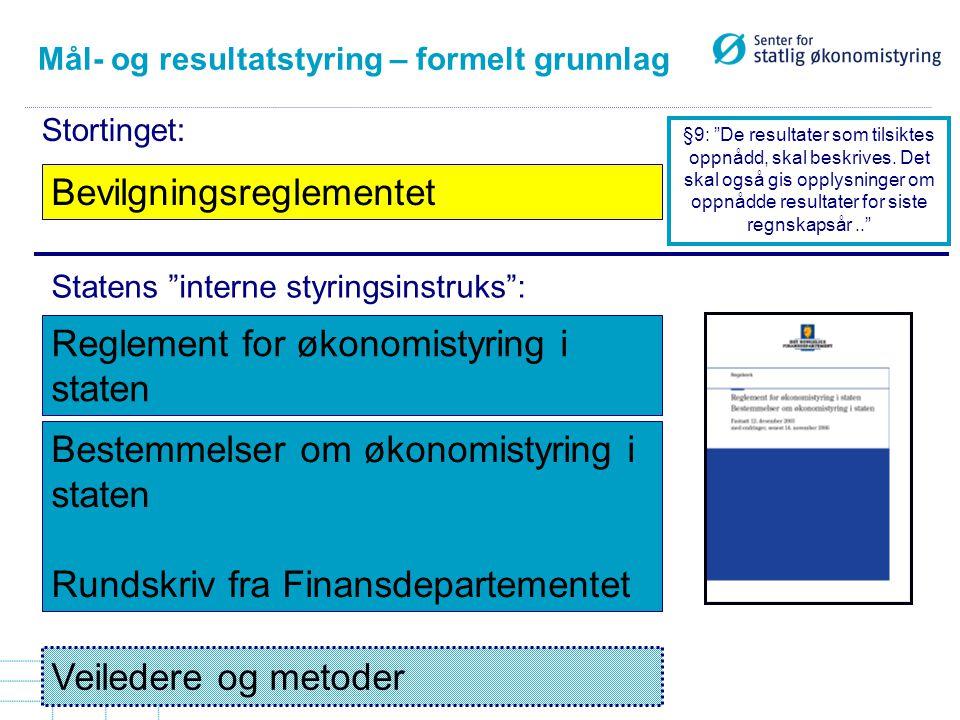 Mål- og resultatstyring – formelt grunnlag Bevilgningsreglementet Reglement for økonomistyring i staten Bestemmelser om økonomistyring i staten Rundsk