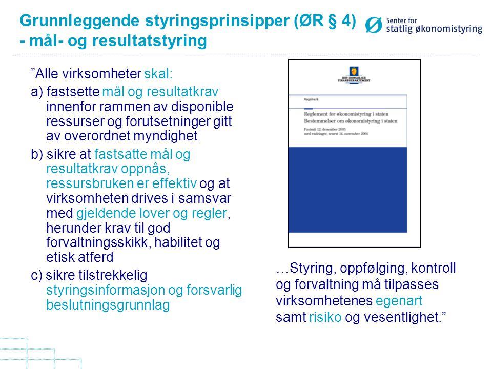 """Grunnleggende styringsprinsipper (ØR § 4) - mål- og resultatstyring """"Alle virksomheter skal: a) fastsette mål og resultatkrav innenfor rammen av dispo"""