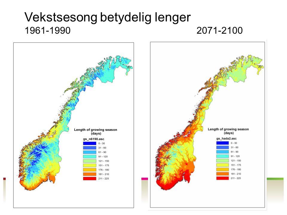 Vekstsesong betydelig lenger 1961-19902071-2100