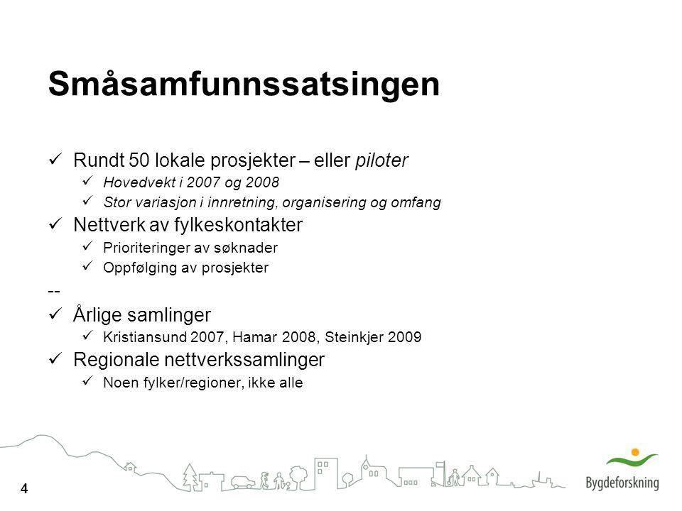 4 Småsamfunnssatsingen Rundt 50 lokale prosjekter – eller piloter Hovedvekt i 2007 og 2008 Stor variasjon i innretning, organisering og omfang Nettverk av fylkeskontakter Prioriteringer av søknader Oppfølging av prosjekter -- Årlige samlinger Kristiansund 2007, Hamar 2008, Steinkjer 2009 Regionale nettverkssamlinger Noen fylker/regioner, ikke alle