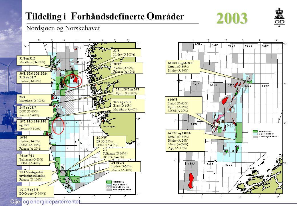 Olje- og energidepartementet Beslutning om videreføring / utarbeide PUD Levere inn PUD Ja t2t2 t3t3 Nei – utvinningstillatelse tilbakeleveres Bore brønn Ja t1t1 Areal tilgjengelig i forhåndsdefinerte områder Utføre G&G arbeid.