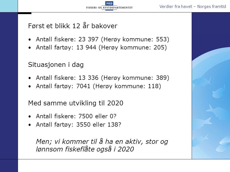 Verdier fra havet – Norges framtid Kvoter og fangst – 1996 og 2008 Fangst norske fartøy 1996: 2 649 000 tonn 2007: 2 342 064 tonn Samlet førstehåndsverdi (2007 kr) 1996: 10,8 milliarder NOK 2007: 11,9 milliarder NOK Eksportverdi, villfangst (2007 kr)* 1996: 20 milliarder NOK 2007: 18 milliarder NOK Kvote (tonn)19962008 Torsk351 500195 413 Makrell133 340120 450 NVG-sild695 000925 980 Kolmule276 000429 580 * Inkluderer også eksport av utenlandske landinger