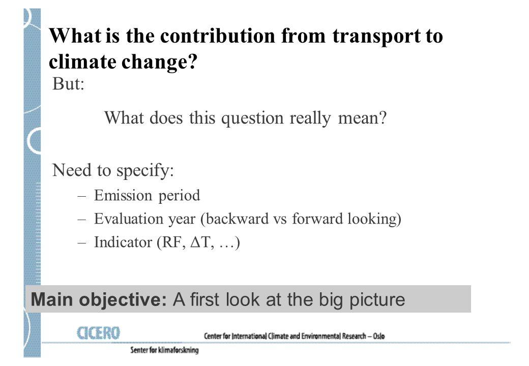 Mekanismer for effekt på klima: Utslipp av direkte drivhusgasser (CO 2 …) Utslipp av indirekte drivhusgasser; forløpere for troposfærisk O 3 og gasser som påvirker den kjemiske omsetningen i atmosfæren (NOx, CO, VOC) Utslipp av partikler eller forløpere, sot (black carbon - BC), organisk karbon (OC), og svovelforbindelser: direkte effekt Indirekte via partikler: Utløse endringer i skyenes egenskaper og romlige fordeling.
