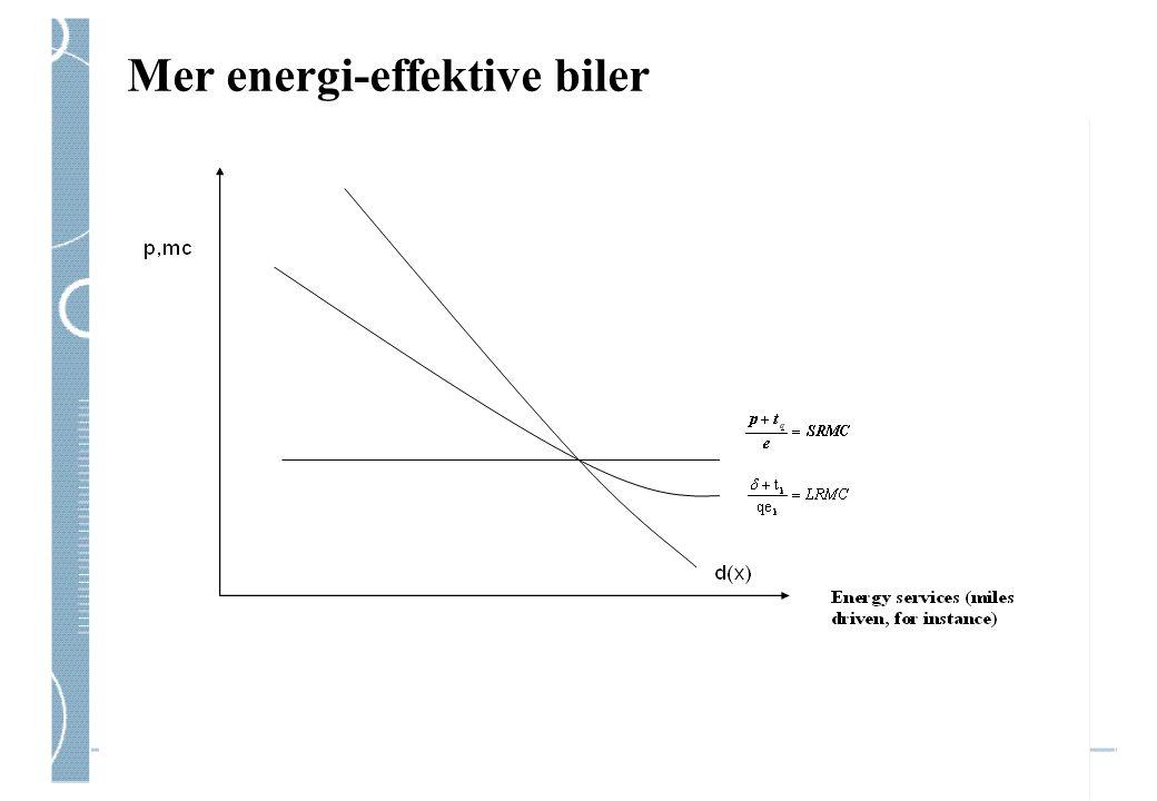 Du velger høyere effektivitet Jo høyere drivstoffprisene er Dvs: forvented drivstoffpriser, diskontert Jo mer e-effektivitet du får per krone investert (a: teknologiens 'elastisitet' og b) bilskatter etc), c) avskrivning&levetid; d) andre, relaterte kvalitetsparametre Illustrasjon: Hybridteknologien: