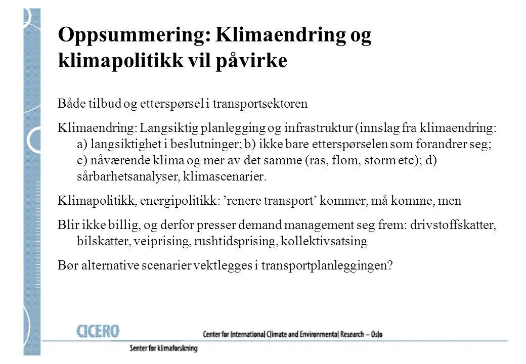Oppsummering: Klimaendring og klimapolitikk vil påvirke Både tilbud og etterspørsel i transportsektoren Klimaendring: Langsiktig planlegging og infras