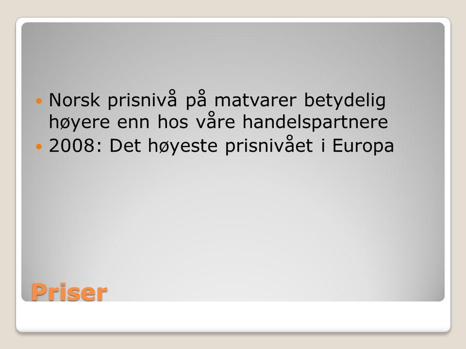 Priser Norsk prisnivå på matvarer betydelig høyere enn hos våre handelspartnere 2008: Det høyeste prisnivået i Europa