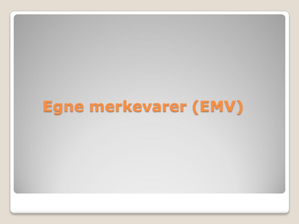 EMV EMV i vekst, men ulik for varegruppene EMV ferskvare i sterk vekst EMV - en mulighet for små produsenter uten egne merker EMV kan øke mangfoldet Urettferdig konkurranse.