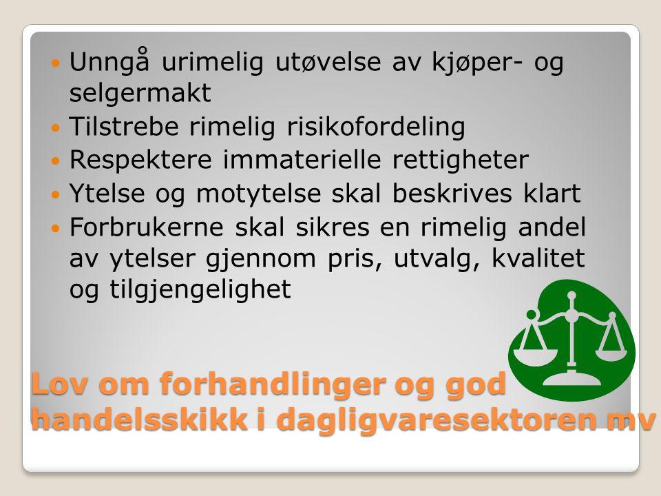 Ombud for dagligvaresektoren Overvåke Veilede Håndheve Sanksjonere Klageadgang for tredjepart Ankeadgang til Markedsrådet