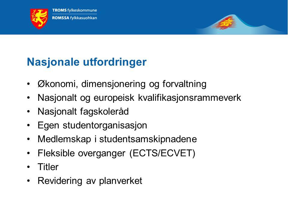 Nasjonale utfordringer Økonomi, dimensjonering og forvaltning Nasjonalt og europeisk kvalifikasjonsrammeverk Nasjonalt fagskoleråd Egen studentorganis