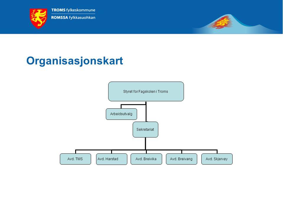 Organisasjonskart Styret for Fagskolen i Troms Sekretariat Avd. TMSAvd. Breivika Avd. Harstad Avd. BreivangAvd. Skjervøy Arbeidsutvalg