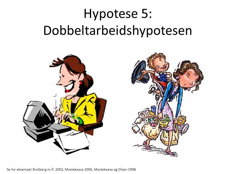Hypotese 5: Dobbeltarbeidshypotesen Se for eksempel Bratberg m.fl. 2002, Mastekaasa 2000, Mastekaasa og Olsen 1998